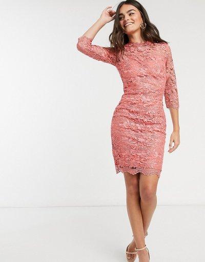 Rosa donna Vestito in pizzo all'uncinetto rosa - Paper Dolls