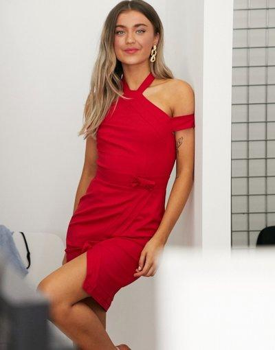 Rosso donna Vestito longuette a portafoglio allacciato al collo rosso - Paper Dolls