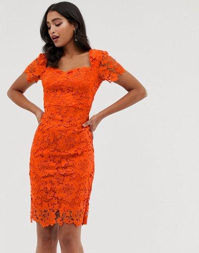 Arancione donna Vestito longuette in pizzo a maniche corte - Paper Dolls - Arancione
