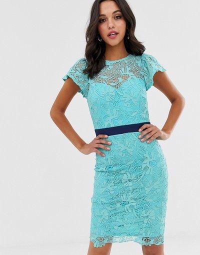Blu donna Vestito longuette in pizzo all'uncinetto - Paper Dolls - Blu