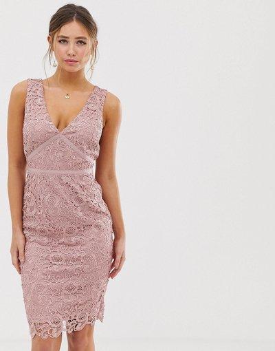 Rosa donna Vestito longuette rosa polvere con scollo a V - Paper Dolls