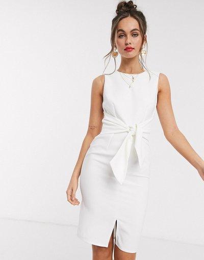 Bianco donna Vestito longuette senza maniche con nodo frontale bianco - Paper Dolls