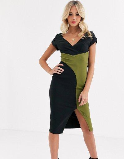 Multicolore donna Vestito midi a portafoglio nero e oliva con spacco - Paper Dolls - Multicolore