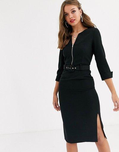 Nero donna Vestito midi con cintura e maniche con risvolto nero con doppio spacco - Paper Dolls