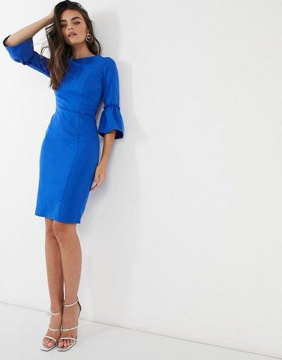 Blu donna Vestito midi con maniche svasate blu - Paper Dolls