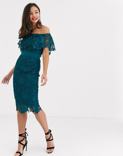 Blu donna azzurro vivo con scollo alla Bardot - Vestito midi in pizzo verde - Paper Dolls - Blu