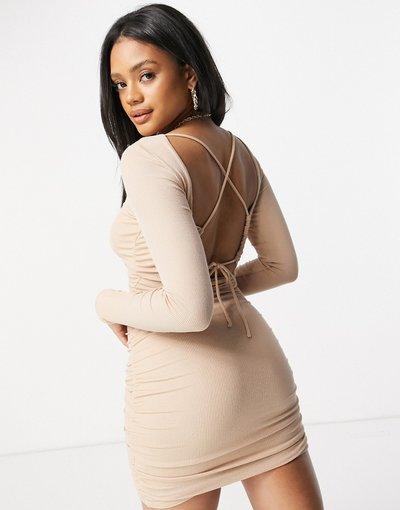 Beige donna Vestito corto con arricciatura e dettaglio con allacciatura sulla schiena, colore beige - Parallel Lines