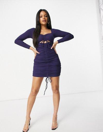 Blu navy donna Vestito corto con scollo a cuore e arricciatura sul davanti, colore blu navy - Parallel Lines