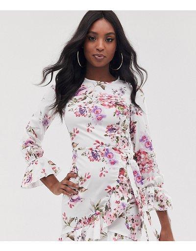 Crema donna Vestitino a fiori con maniche svasate - Parisian Tall - Crema