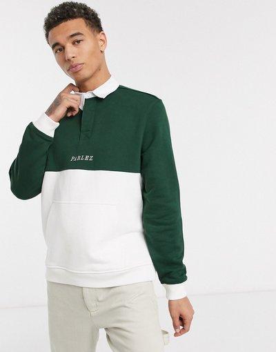 Novita Verde uomo Camicia stile rugby a maniche lunghe con tasca a marsupio verde - Parlez Purcer