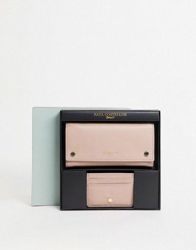 Portafoglio Rosa donna Set regalo con portafoglio e portacarte in pelle con borchie metalliche e stampa pitonata - Paul Costelloe - Rosa