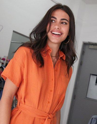 Arancione donna Vestito camicia midi in lino - People Tree - Arancione