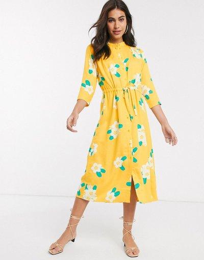 Giallo donna Vestito midi con stampa floreale - People Tree - Giallo
