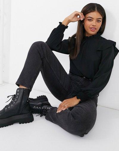 Camicia Nero donna Blusa accollata nera con maniche con ruches - Pieces - Nero