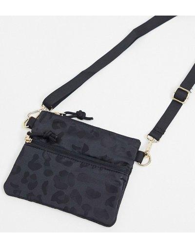 Portafoglio Nero donna Borsa a tracolla con zip e stampa leopardata nera - Pieces - Nero