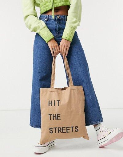 Borsa Beige donna Borsa shopping in tela beige con scritta - Pieces