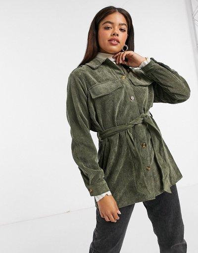Verde donna Camicia giacca allacciata in vita a coste kaki - Pieces - Verde