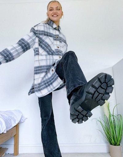 Multicolore donna Camicia giacca taglio lungo in cotone spazzolato a quadri colore crema - Multicolore - Pieces