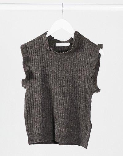 Marrone donna Canotta in maglia con volant grigio scuro - Pieces - Marrone