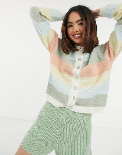 Multicolore donna Cardigan a righe in colori pastello con bottoni in madreperla multicolore - Pieces