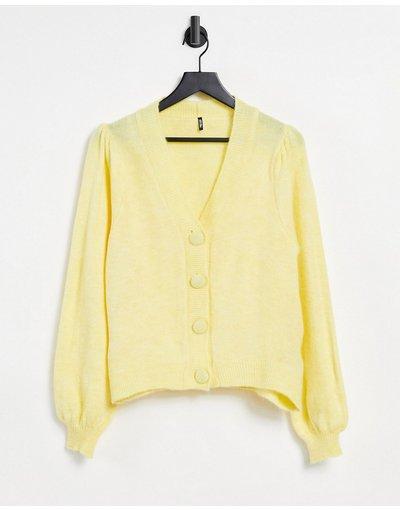 Giallo donna Cardigan giallo pastello con bottoni grandi - Pieces