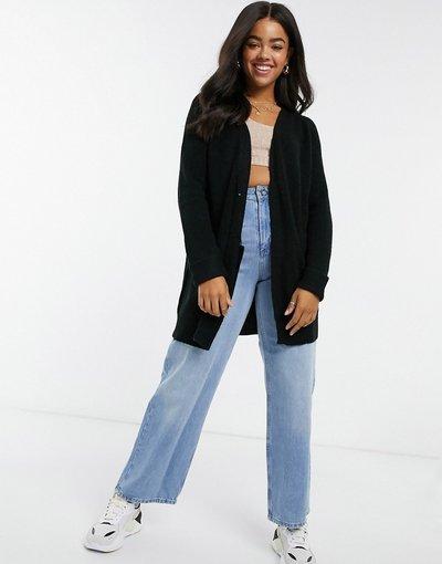 Maglione cardigan Nero donna Cardigan taglio lungo nero - Pieces