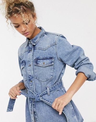 Blu donna Giacca di jeans con nodo sul davanti lavaggio blu acido - Pieces
