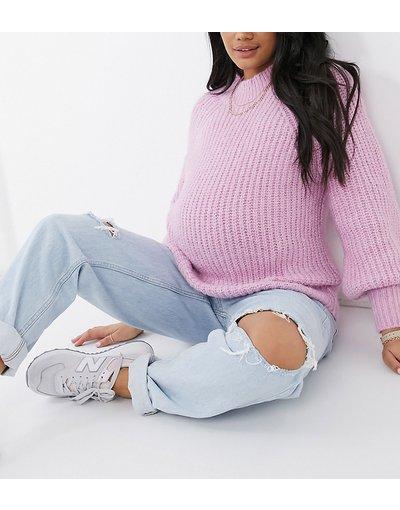 Rosa donna Maglione lavorato a maglia spessa rosa pastello con maniche voluminose - Pieces Maternity