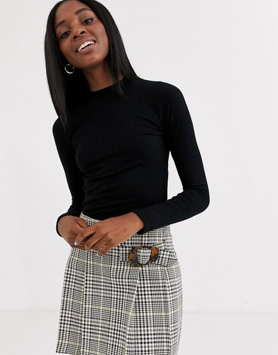 T-shirt Nero donna shirt accollata a maniche lunghe nera - Pimkie - Nero - T