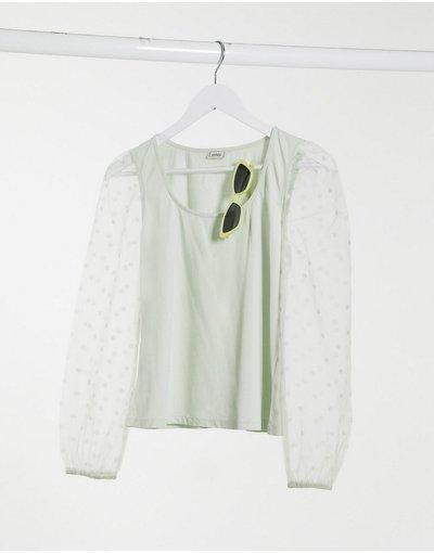 T-shirt Verde donna shirt con maniche in organza a pois verde salvia - Pimkie - T