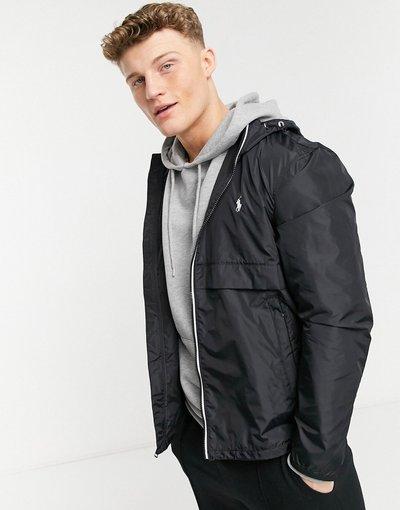 Nero uomo Giacca impermeabile con cappuccio in nylon nero tinta unita con logo - Polo Ralph Lauren - Belport
