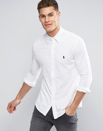 Bianco uomo down con logo a giocatore slim in piqué bianca - Polo Ralph Lauren - Camicia button - Bianco
