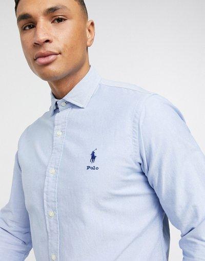 Blu uomo Camicia Oxford vestibilità classica azzurra con logo e colletto - Polo Ralph Lauren - Blu