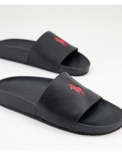 Novita Nero uomo Ciabatte nere con logo rosso - Polo Ralph Lauren - Nero