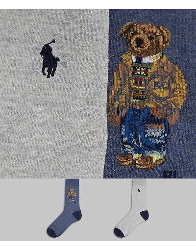 Intimo Grigio uomo Confezione da 2 paia di calzini grigio/blu con logo dell'orso - Polo Ralph Lauren