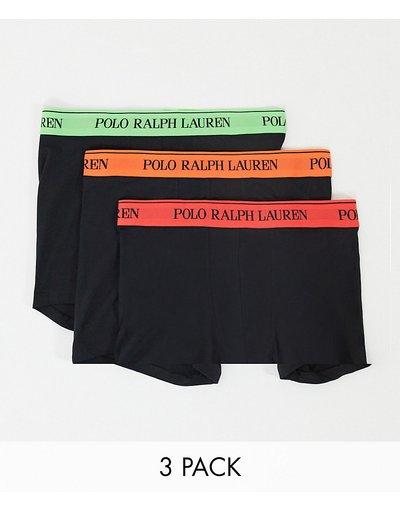 Calze Nero uomo Confezione da 3 boxer aderenti neri con fascia in vita verde fluo/arancione/rosso - Polo Ralph Lauren - Nero