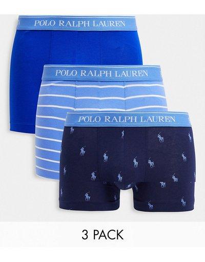 Intimo Blu uomo Confezione da 3 paia di boxer aderenti a strisce blu e con stampa del logo - Polo Ralph Lauren