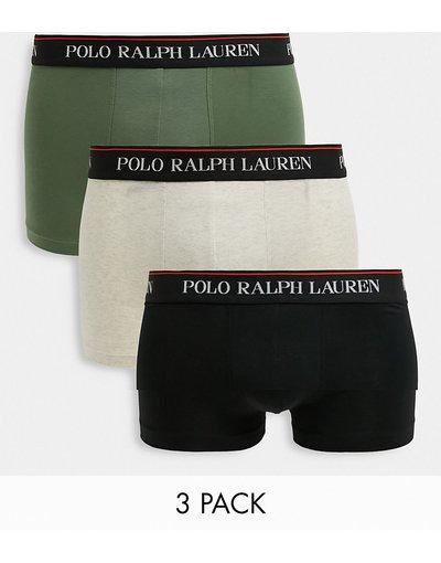 Intimo Multicolore uomo Confezione da 3 paia di boxer aderenti nero/verde oliva/beige - Polo Ralph Lauren - Multicolore