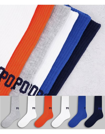 Intimo Multicolore uomo Confezione da 6 paia di calzini multi con logo pony - Polo Ralph Lauren - Multicolore