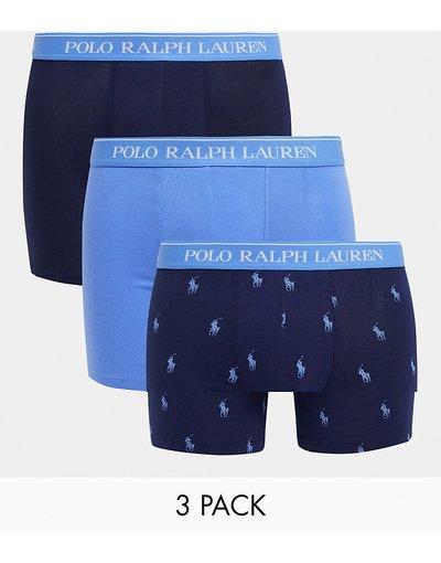 Intimo Blu navy uomo Confezione risparmio da 3 boxer aderenti blu/blu navy/con logo pony su tutto il capo - Polo Ralph Lauren