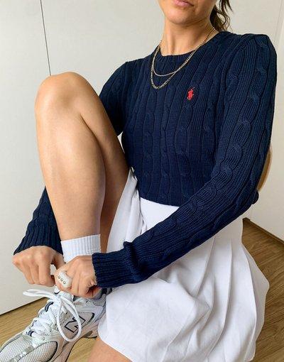 Blu navy donna Maglione blu navy in maglia a trecce con logo - Polo Ralph Lauren