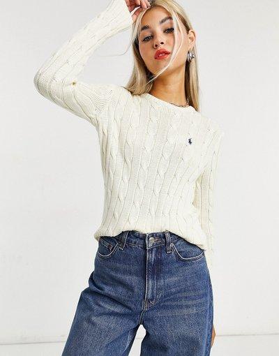 Crema donna Maglione in maglia a trecce con logo crema - Polo Ralph Lauren