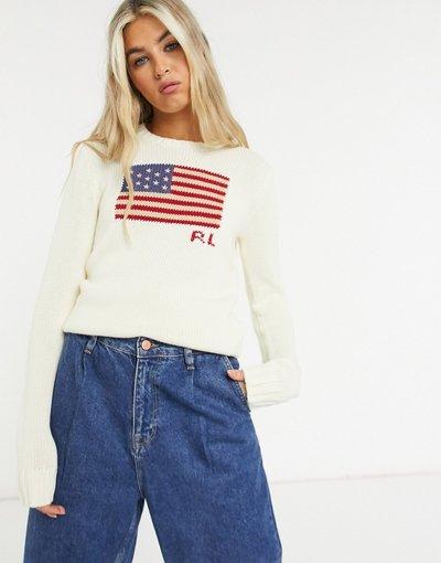 Crema donna Maglione lavorato con logo a bandiera color crema - Polo Ralph Lauren