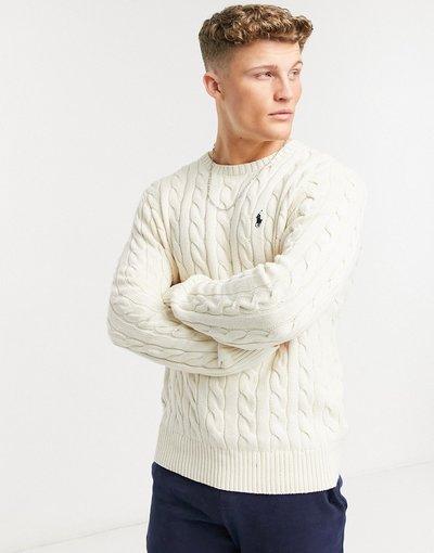 Bianco uomo Maglione lavorato in cotone bianco sporco a trecce con logo - Polo Ralph Lauren