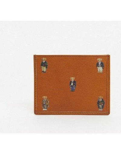 Portafoglio Cuoio uomo Portacarte in pelle color cuoio con logo con orso - Polo Ralph Lauren