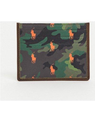 Portafoglio Multicolore uomo Portacarte in pelle mimetica con logo - Polo Ralph Lauren - Multicolore