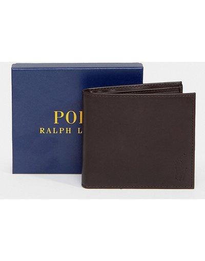 Portafoglio Marrone uomo Portafoglio a libro classico in pelle marrone - In esclusiva per ASOS - Polo Ralph Lauren