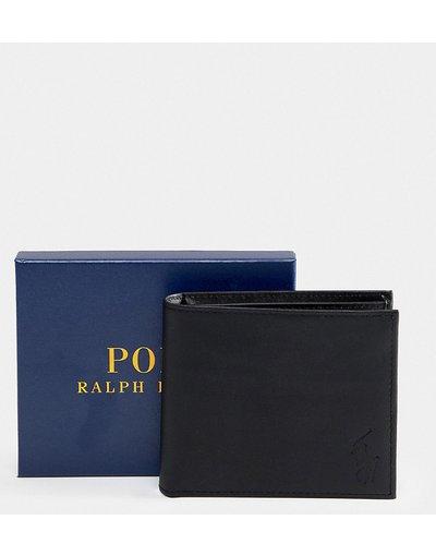 Portafoglio Nero uomo Portafoglio a libro classico in pelle nera - In esclusiva per ASOS - Polo Ralph Lauren - Nero