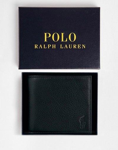 Portafoglio Nero uomo Portafoglio a libro nero in pelle - Polo Ralph Lauren