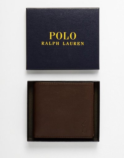 Portafoglio Marrone uomo Portafoglio di pelle a libro con portamonete marrone - Polo Ralph Lauren